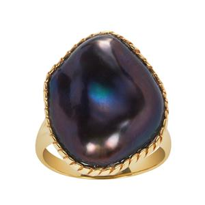 Baroque Cultured Pearl Ring in Gold Tone Sterling Silver (18x15mm)