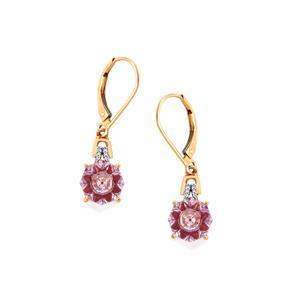 Lehrer KaleidosCut Rose De France Amethyst, Thai Ruby Earrings with Diamond in 10K Rose Gold 3.63cts (F)