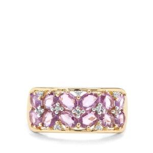 Rose Cut Natural Purple Sapphire & White Zircon 9K Gold Ring ATGW 1.97cts