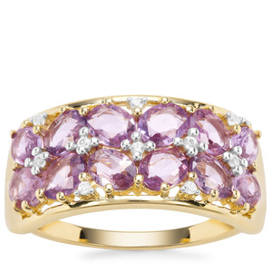 Rose Cut Purple Sapphire Ring with White Zircon in 9K Gold 1.97cts