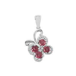 Mahenge Garnet Pendant with White Topaz in Sterling Silver 1.40cts