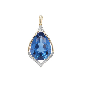 Baiyang Colour Change Fluorite Pendant with White Zircon in 9K Gold 24.44cts