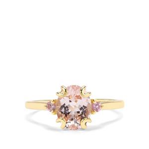 Nigerian Morganite & Pink Sapphire 9K Gold Ring ATGW 1.78cts