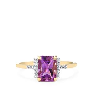 Moroccan Amethyst & White Zircon 9K Gold Ring ATGW 1.51cts