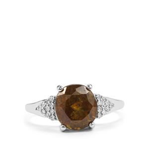 Ambilobe Sphene Ring with Diamond in 18K White Gold 4.05cts