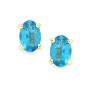 Neon Apatite Earrings in 9K Gold 0.85ct