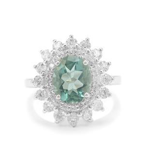 Tucson Green Fluorite & White Zircon Sterling Silver Ring ATGW 5.35cts