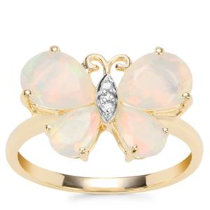 Ethiopian Opal Butterfly Ring with Diamond in 9K Gold 2cts