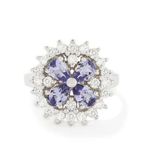 AA Tanzanite & White Topaz Sterling Silver Ring ATGW 2.89cts