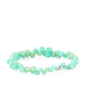 Amazonite Graduated Stretchable Bead Bracelet with Silver Ball in Sterling Silver 47cts