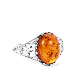 Baltic Cognac Amber (30x36mm) Bangle in Sterling Silver