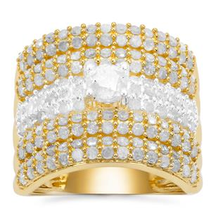 Diamond Ring in Gold Plated Sterling Silver 2.50cts