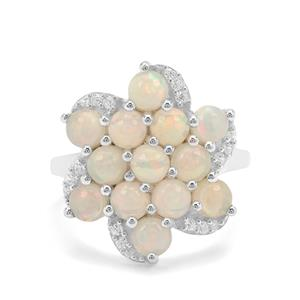 Ethiopian Opal & White Zircon Sterling Silver Ring ATGW 2.50cts