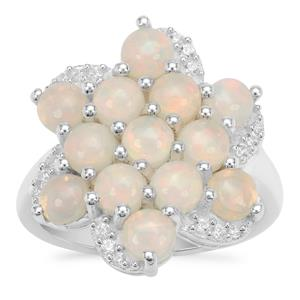 Ethiopian Opal Ring with White Zircon in Sterling Silver 2.50cts