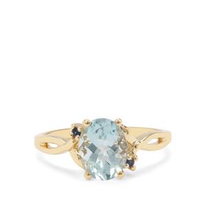 Madagascan Aquamarine & Ceylon Blue Sapphire 9K Gold Ring ATGW 1.70cts