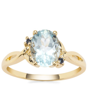 Madagascan Aquamarine Ring with Ceylon Blue Sapphire in 9K Gold 1.70cts
