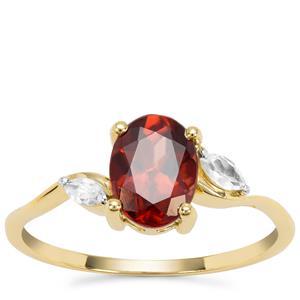 Singida Marsala Zircon Ring with White Zircon in 9K Gold 2.10cts
