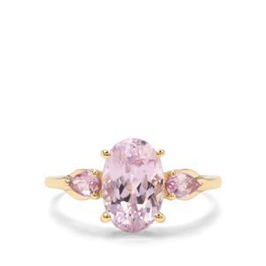 Natural Kunzite & Sakaraha Pink Sapphire 9K Gold Ring ATGW 3.70cts