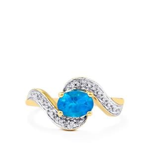Neon Apatite & Diamond 10K Gold Ring ATGW 0.80cts