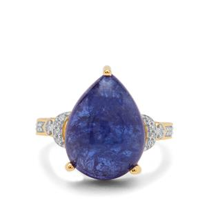 AAA Tanzanite Ring with White Zircon in 9K Gold 11.50cts