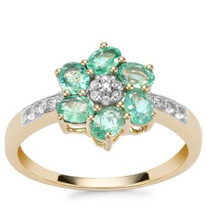 Zambian Emerald Ring with White Zircon in 9K Gold 1.03cts
