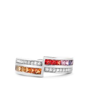 Rainbow Sapphire & White Topaz Sterling Silver Ring ATGW 1.36cts