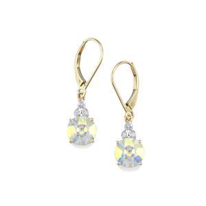 Lehrer QuasarCut Mercury Mystic Topaz Earrings with Diamond in 10K Gold 4.06cts