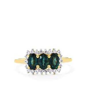 Nigerian Blue Sapphire & White Zircon 9K Gold Ring ATGW 1.28cts