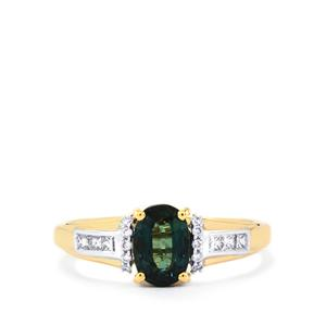 Nigerian Blue Sapphire Ring with Diamond in 18k Gold 1.43cts
