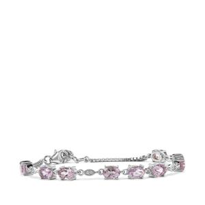 Rose De France Amethyst & White Topaz Sterling Silver Bracelet ATGW 5.84cts