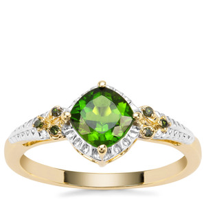 Chrome Diopside Ring with Green Diamond in 9K Gold 1.09cts
