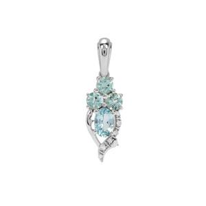 Aquaiba™ Beryl Pendant with Diamond in 9K White Gold 0.85cts