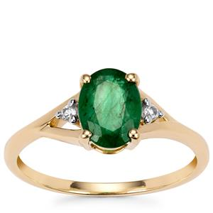 Minas Gerais Emerald Ring with White Zircon in 9K Gold 1.13cts