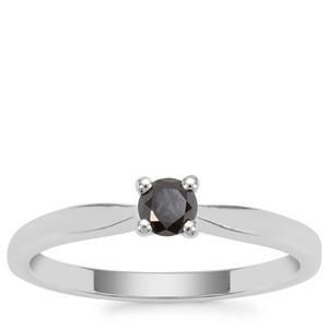 Black Diamond Ring in Sterling Silver 0.26ct