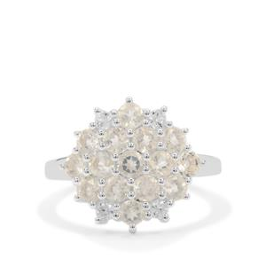 Plush Diamond Sunstone Ring with White Zircon in Sterling Silver 1.90cts