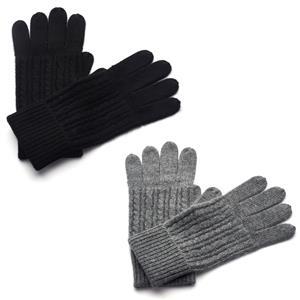 Gem Auras 100% Mongolian Cashmere Ladies Cable Knit Gloves - 2 Colours Available