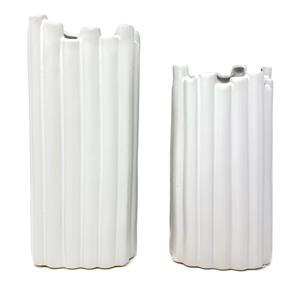Set of 2 White Ceramic Vases