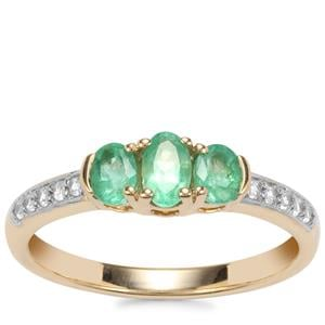 Zambian Emerald Ring with White Zircon in 9K Gold 0.69ct