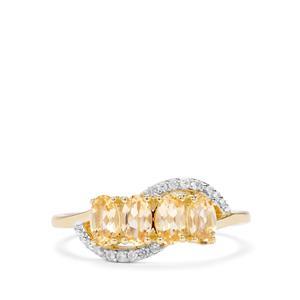 Ouro Preto Imperial Topaz & White Zircon 9K Gold Ring ATGW 1.16cts