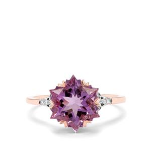 Wobito Snowflake Cut Ametista Amethyst & Diamond 9K Rose Gold Ring ATGW 4.09cts