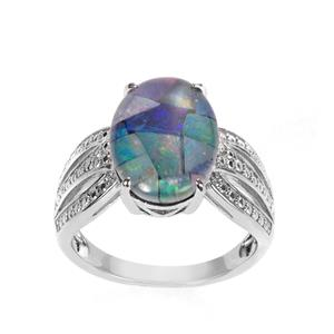Mosaic Opal Ring in Sterling Silver (14 x 10mm)