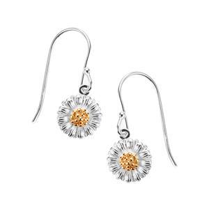 Daisy Two Tone Sterling Silver Earrings 1.52g