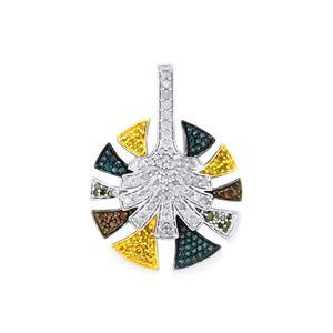 Multi-Colour Diamond Pendant in Sterling Silver 1ct