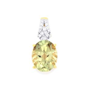 Csarite® & Diamond 18K Gold Pendant MTGW 3.06cts