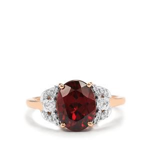 Zanzibar Zircon Ring with Diamond in 18K Rose Gold 4.35cts