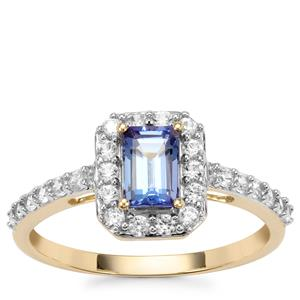 AA Tanzanite Ring with White Zircon in 9K Gold 1.14cts