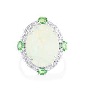 Rainbow Moonstone & Fern Green Topaz Sterling Silver Ring ATGW 13.37cts