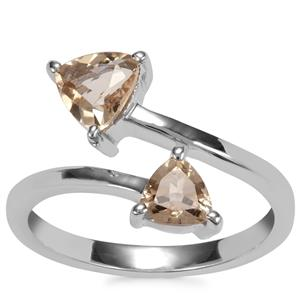 Bolivian Natural Champagne Quartz Ring in Sterling Silver 1ct