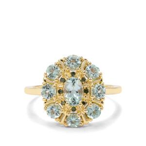 Aquaiba™ Beryl & Green Diamond 9K Gold Ring ATGW 1.17cts