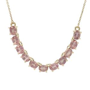 Padparadscha Sapphire Necklace in 9K Gold 3.90cts